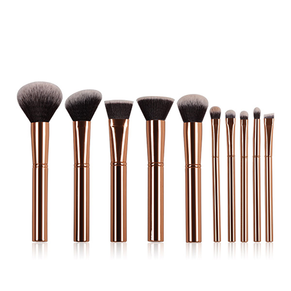K10058 10 Piece Metal Handle Makeup Brush Set