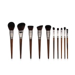 K10055 10 Piece Nickel Plated Makeup Brush Set